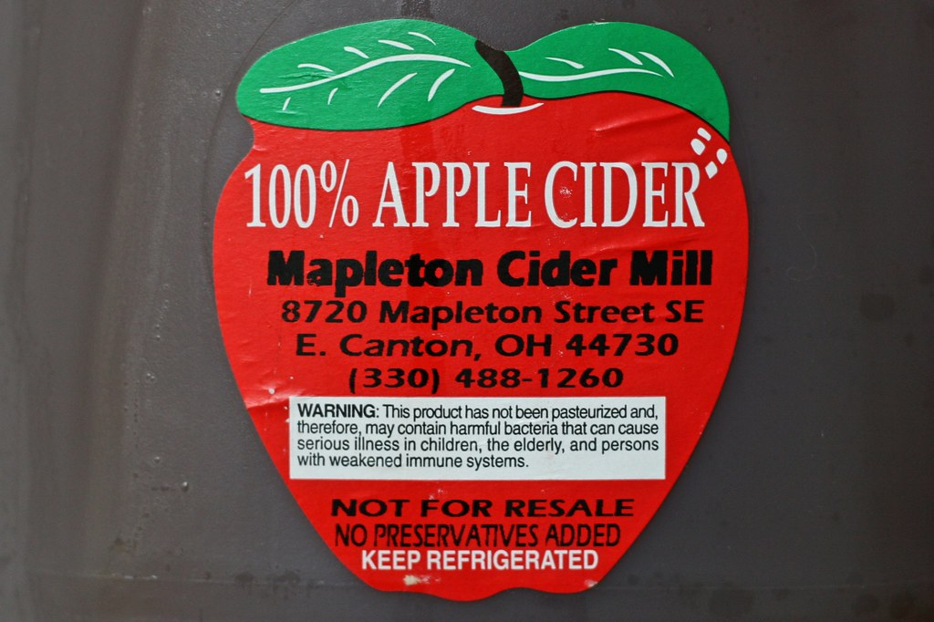 Cider Warning Label  Fresh cider is one of my favorite