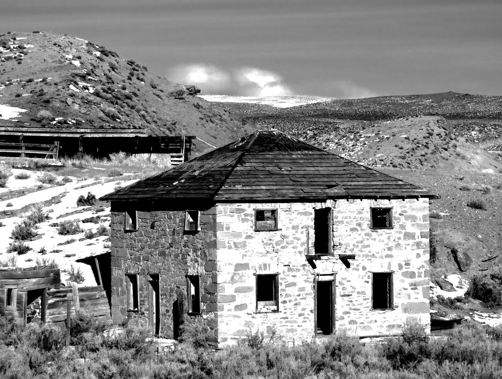 Abandoned Stone Building Near Carter Wyoming  This is a
