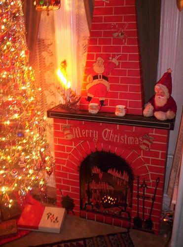 Cardboard Christmas Fireplace.Vintage Cardboard Christmas U Assemble Fireplace Scene Unused