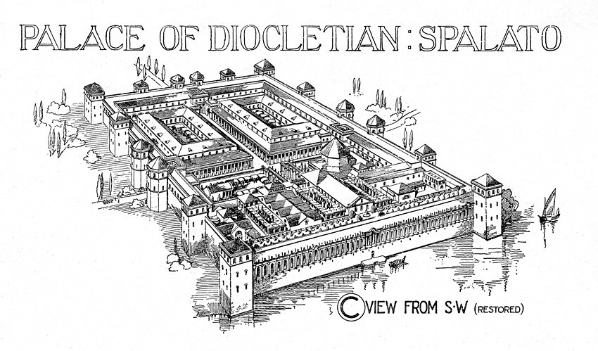 Palace of Diocletian: reconstruction rendering of aerial v
