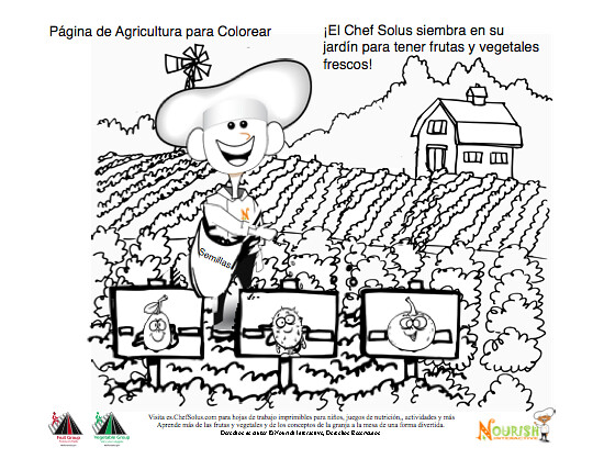 Planting A Garden Coloring Page Spanish- Nutrition Educati