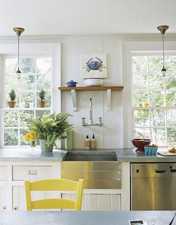 White Beachy Kitchen Vintage Touches Modern Appliances