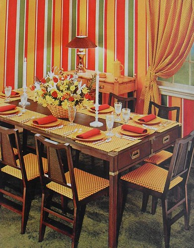 1972 Striped Graphic Drapes Dining Room Vintage 1970s Inte