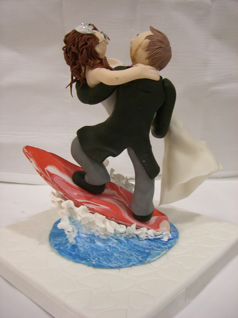 Fimo Wedding Cake Topper Bride And Groom Surfing Rear