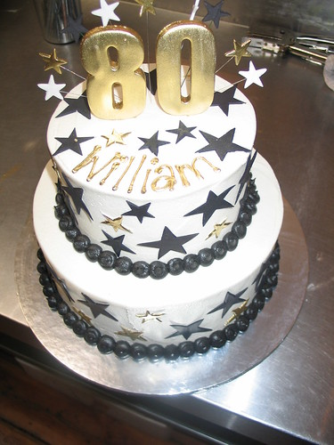 2 Tier Birthday Cake White Butter Icing Black & Gold Star