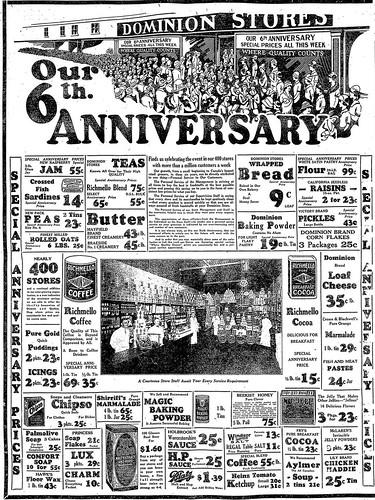 Vintage Ad #1 089 Dominion's 6th Anniversary Sale 1925