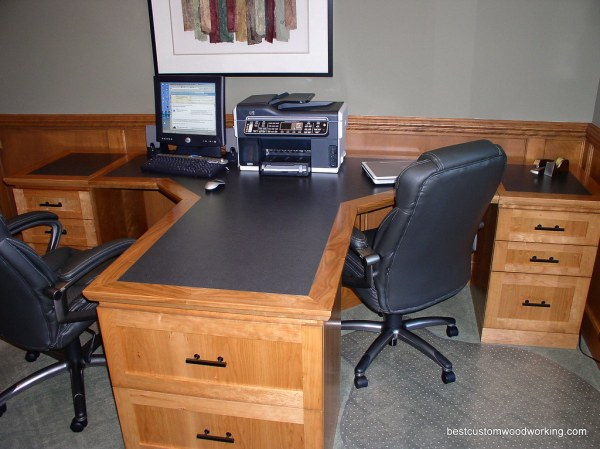 home office computer desks for two people Custom Cherry Partner Desk (Two Person). | Custom made
