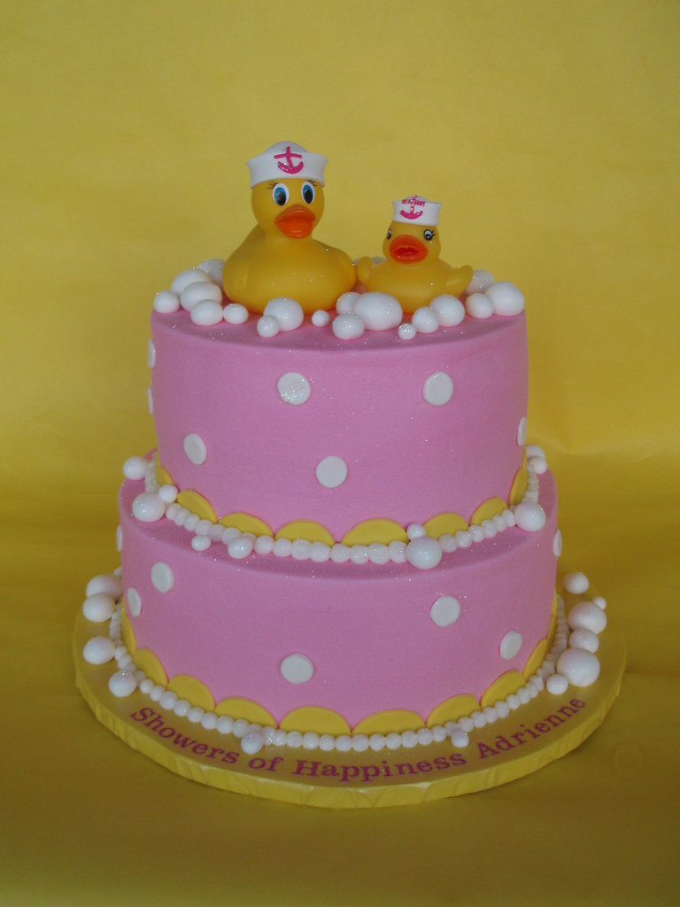 Rubber Duckie Baby Girl Shower Cake The Title About Says