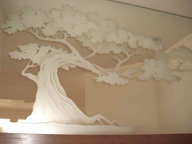 decorative mirror etched hand carved bonsai tree glass wal
