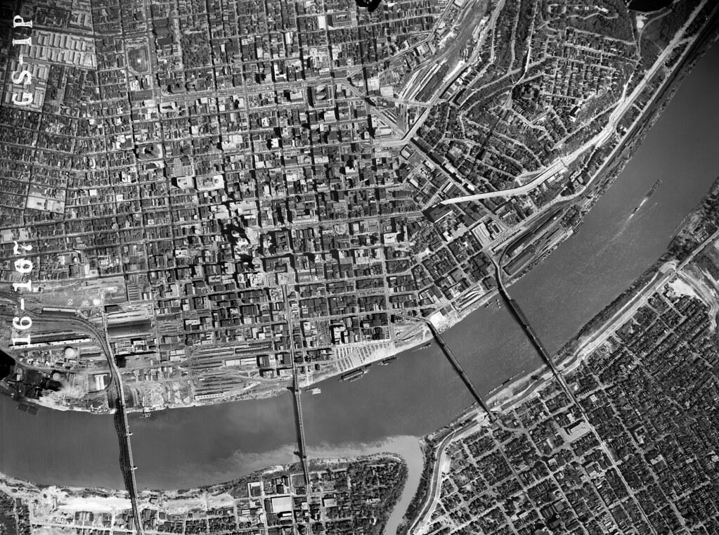1949 aerial photo of Cincinnati high resolution  1949