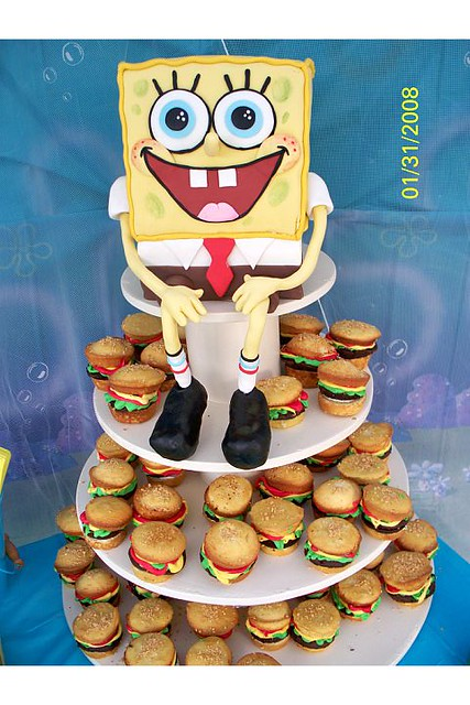 spongebob cake and krabby patty cupcakes  krabby patty