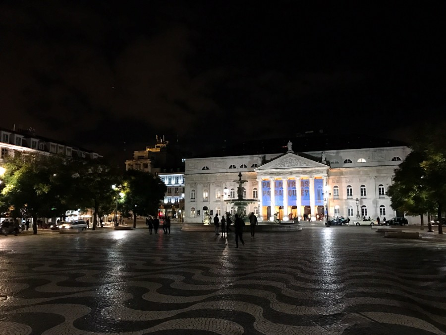 public building at lisbon central square at night