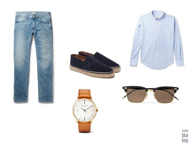 Look para hombre con alpargatas, vaqueros, camisa de rayas masculina, gafas de sol y reloj