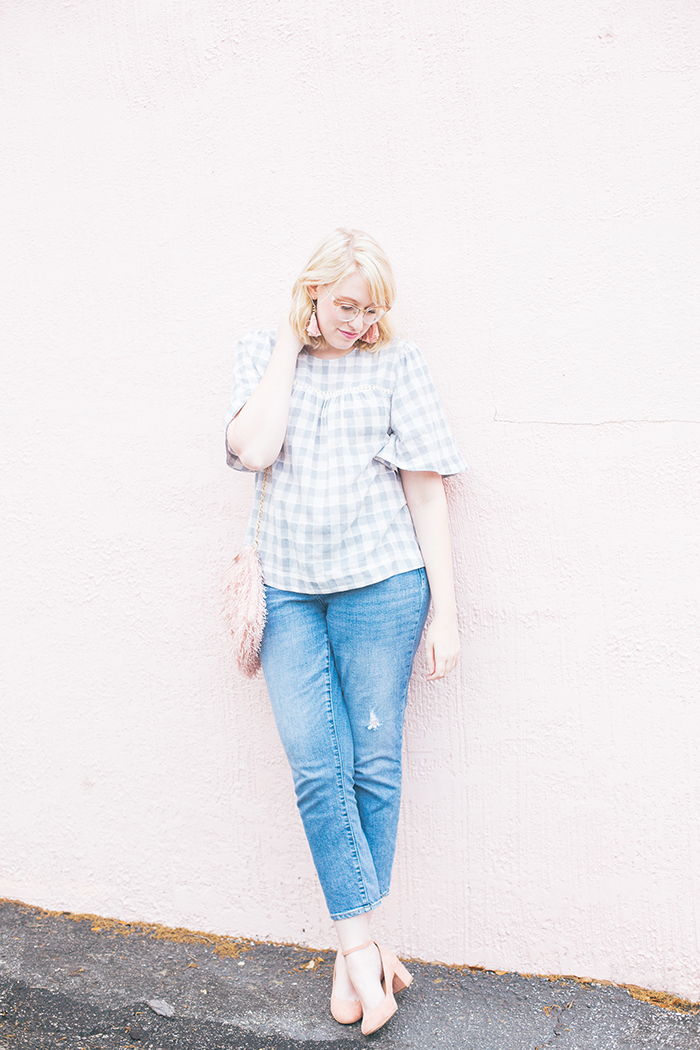 austin fashion blog gingham bell sleeves and blush20