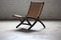 Pristine Mid Century Modern Woven Folding Rope Chair (1960 ...