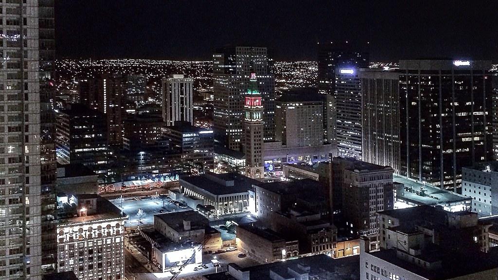 Downtown Denver lights at night from the Hyatt Regency  2