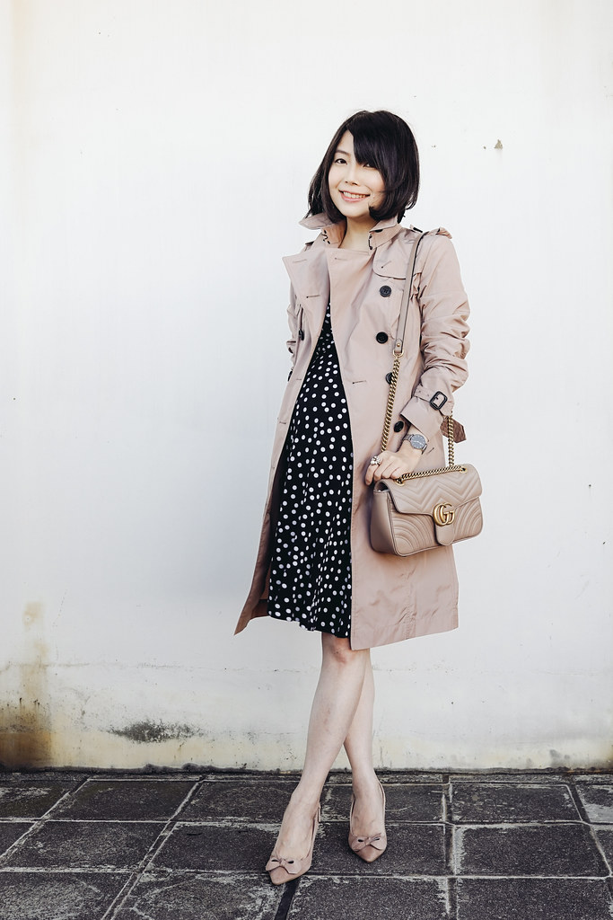 ▌Dressing the bump ▌ Burberry Sandringham Long Technical Trench Coat裸色風衣 + Jimmy Choo Blare 85 suede pumps
