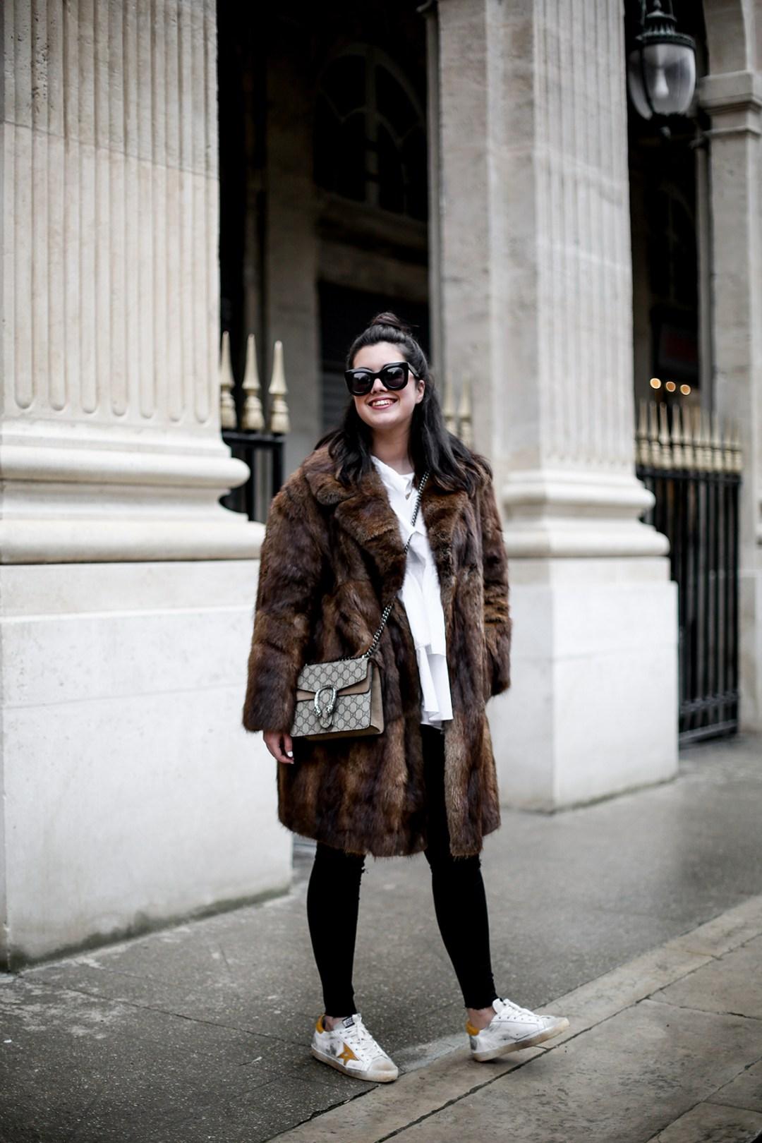 golden goose deluxe brand sneakers fur coat vintage streetstyle paris 2017-8