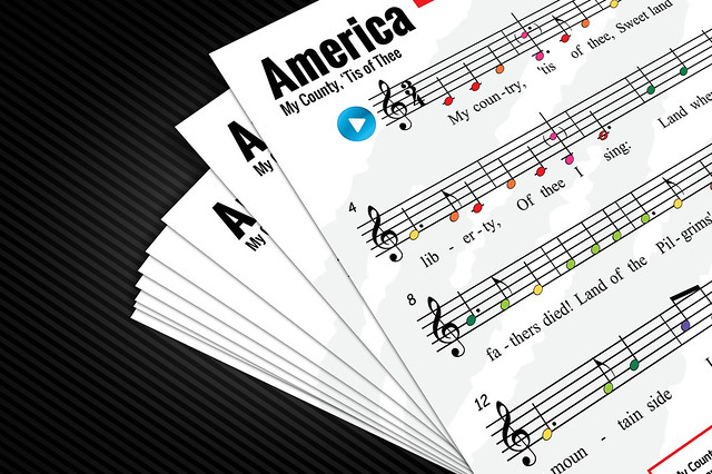 Boomwhacker Tubes Sheet Music: America (My Country, 'Tis