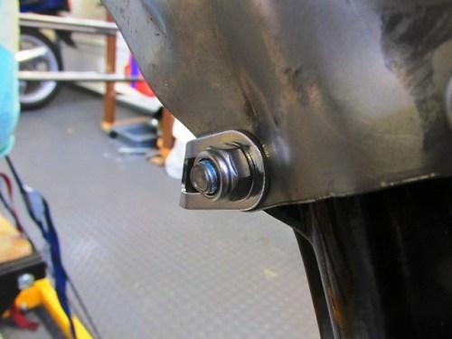 Disk Brake Hose Bracket Goes Next to Tire on Outside of Stock Fork-Fender Brace