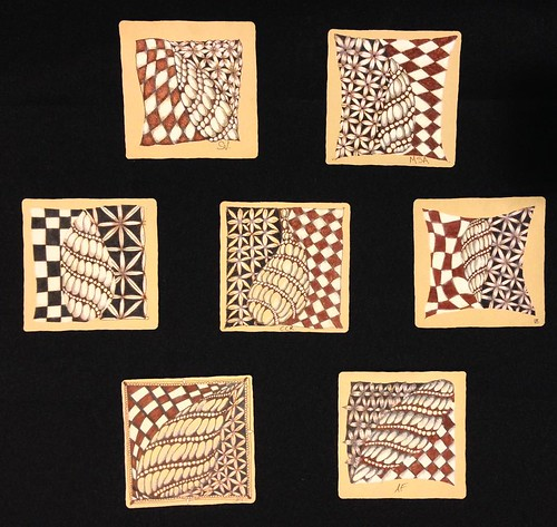 """Introduction to Zentangle Renaissance"" student tiles"