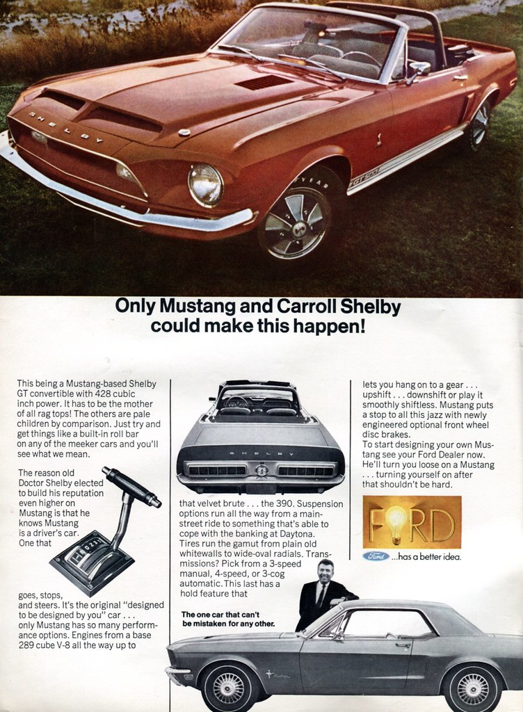 1968 Ford Shelby Mustang GT500 Advertising Road & Track Ap