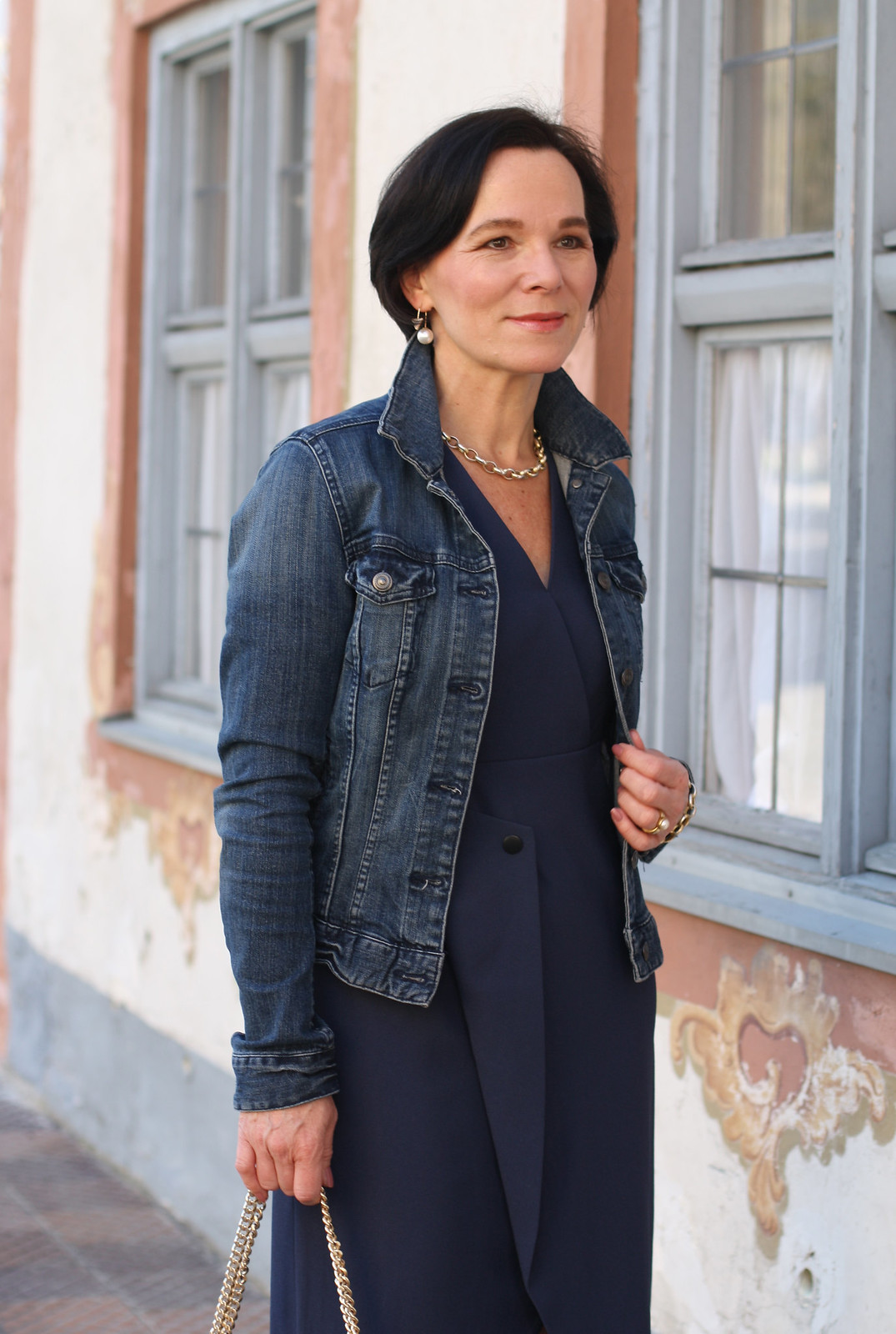 Dressing down a blue dress by Finery London with a denim jacket . Lady of Style . 50plusblogger