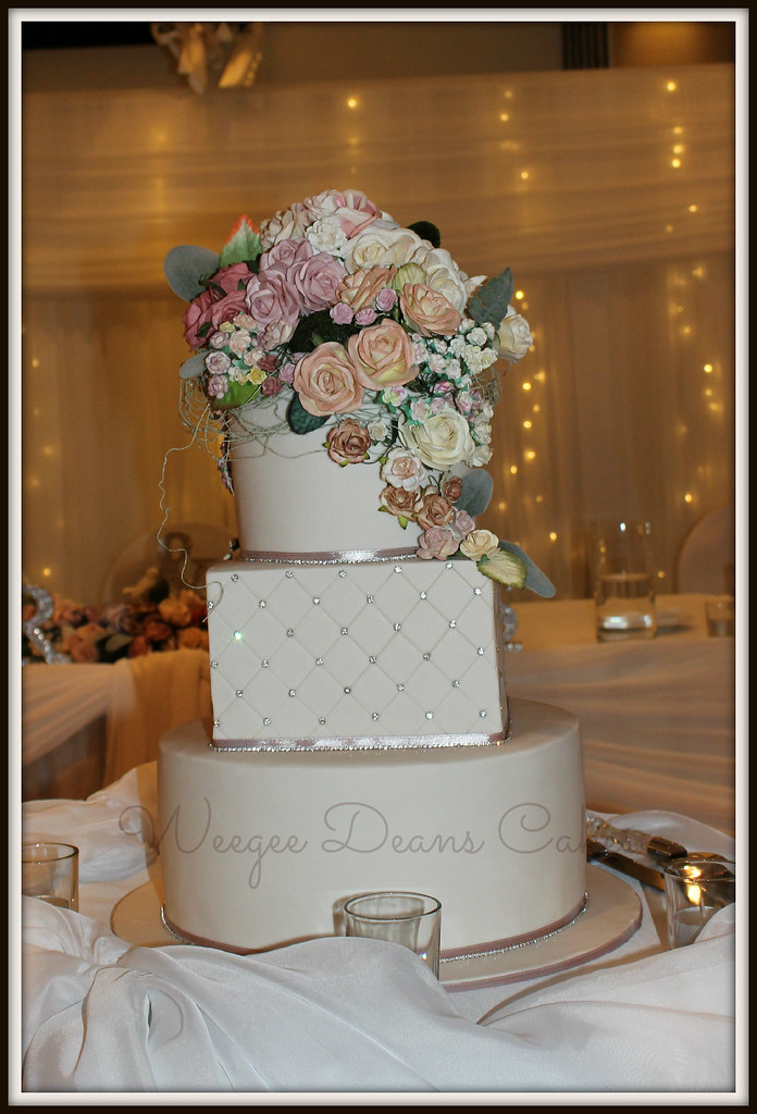 Flowers and Bling Round and square Wedding Cake  Louise