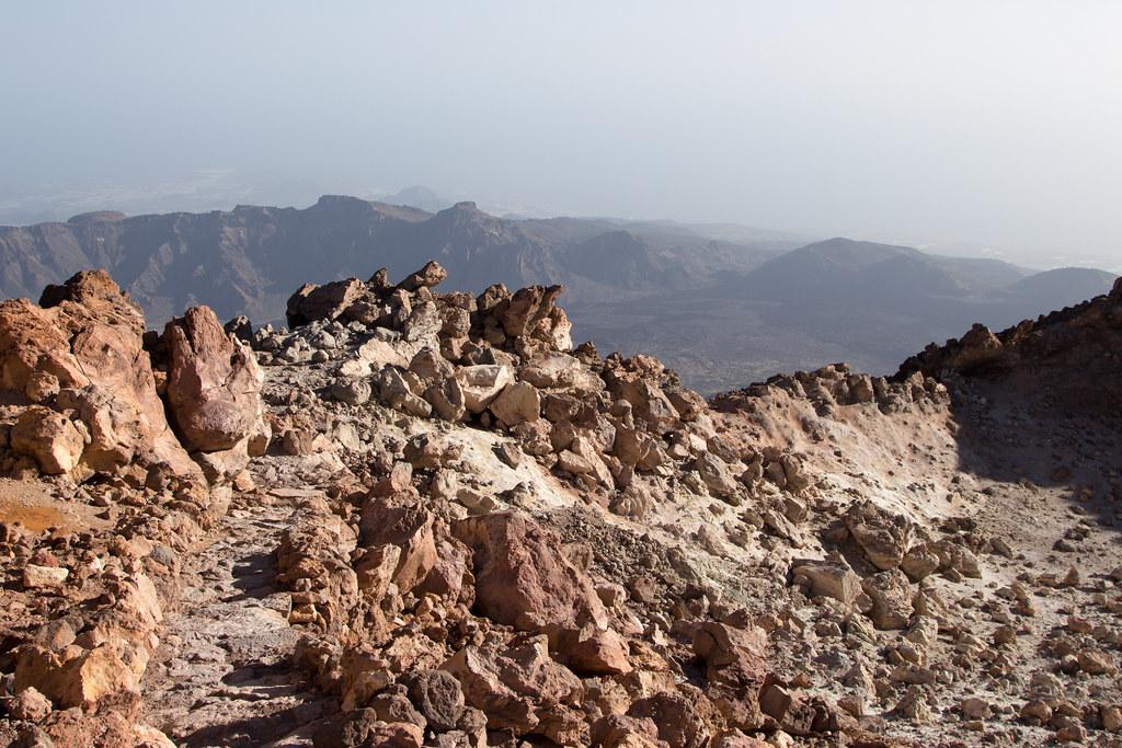 The volcanic rock on Mount Teide