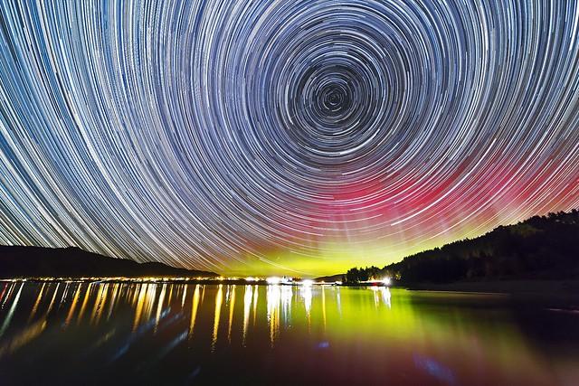 Star trails and Aurora over Lake Hawea, New Zealand
