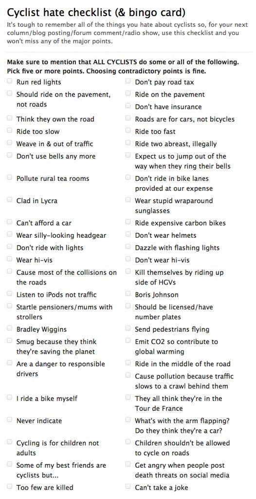 Cyclist Hate Checklist & Bingo Card Ipayroadtax