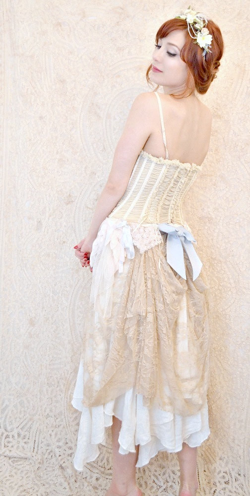 Bohemian Wedding Dress Upcycled Lace Dress Whimsical For