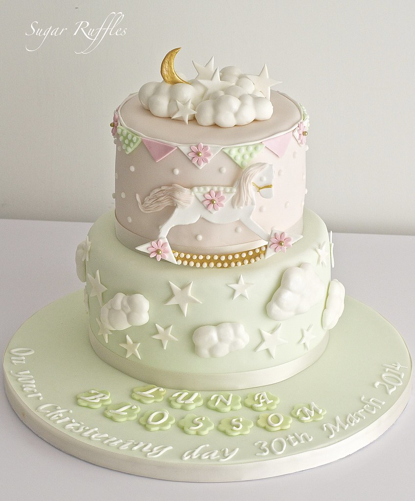 Mint Green and Pink Christening Cake  Charlotte  Flickr