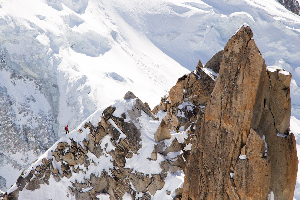 Chamonix climber on a ridge