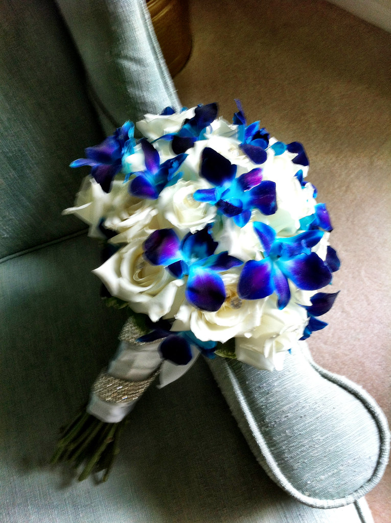 Bouquet Of White Roses And Blue Green Dendrobium Orchids F