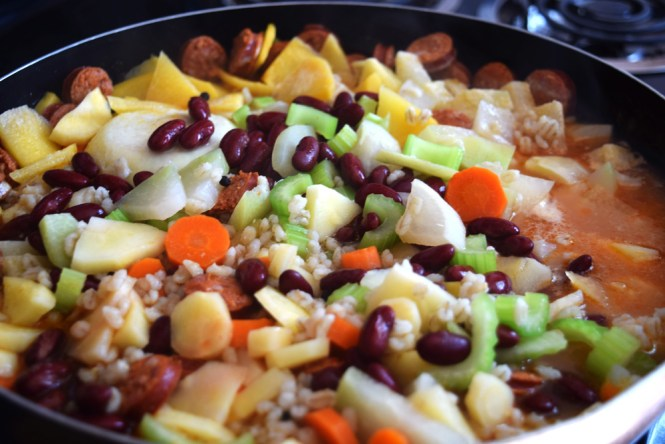 Stir in beans to Barley Stew with Root Vegetables and Sausage