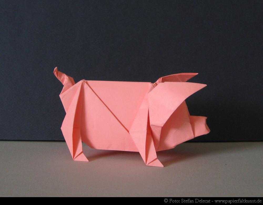 Pig  My own origami design Medium Two uncut squares of