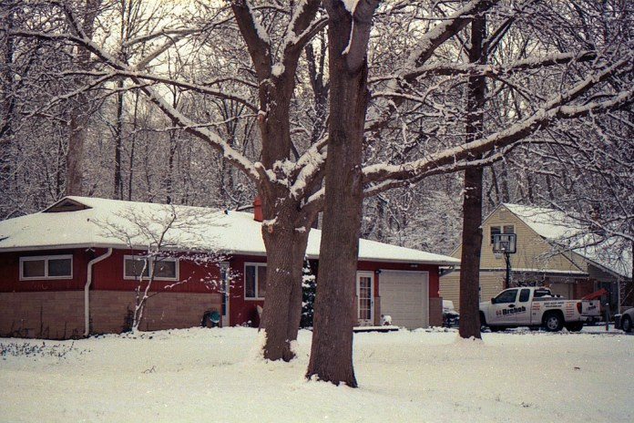 Snowy neighborhood scene