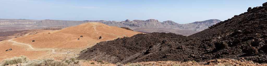 Hiking the switchbacks of Mt. Teide. A panoramic view from the trail.