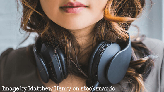 Girl with headphones. Image by Matthew Henry on Stocksnap.io