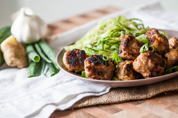 Thai Turkey Meatballs with Spiralized Cucumber Salad