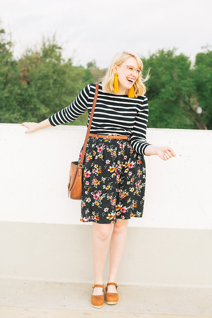 austin fashion blogger stripes and modcloth floral skirt1