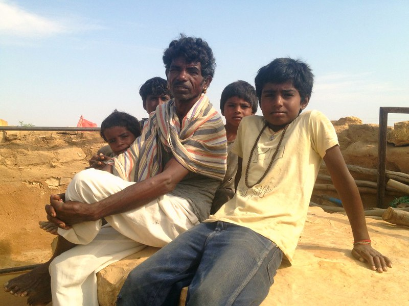 gypsy family in thar desert