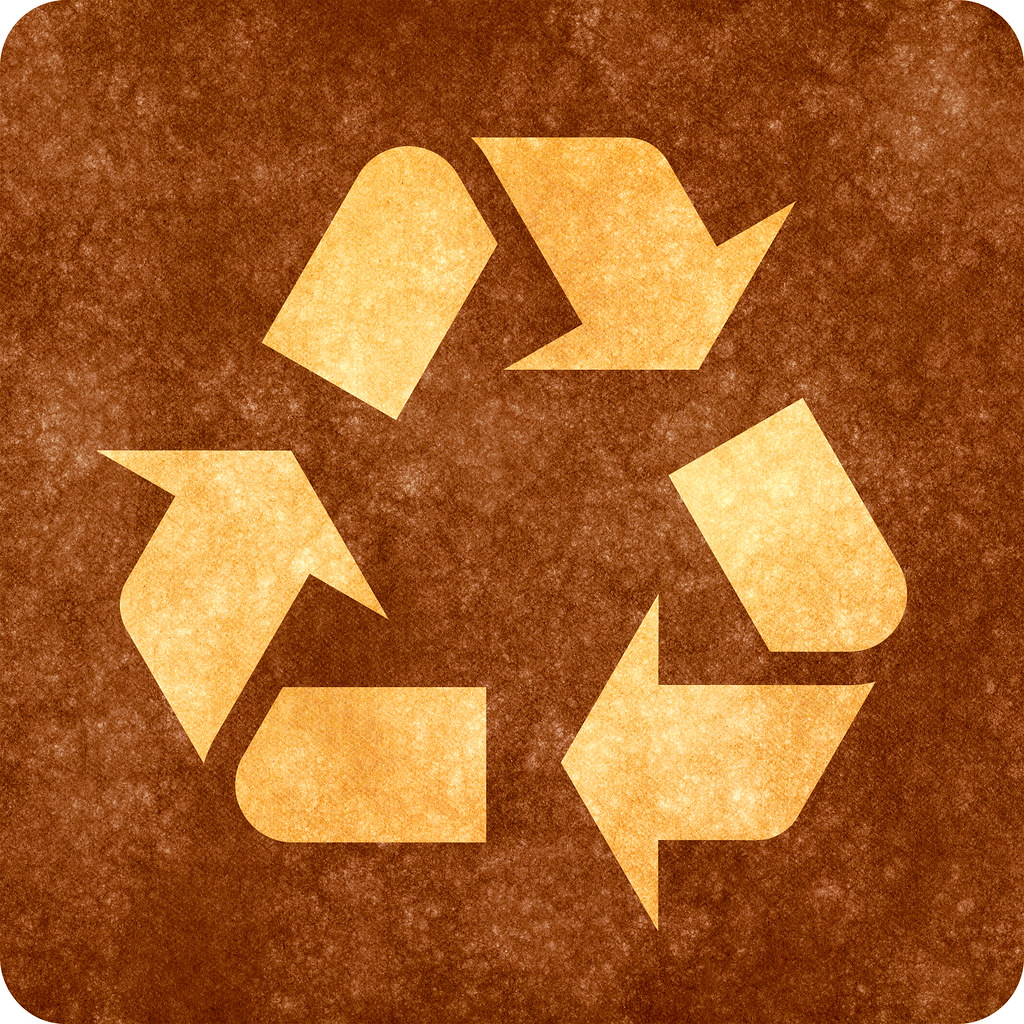 Sepia Grunge Sign  Recycling Symbol  High resolution