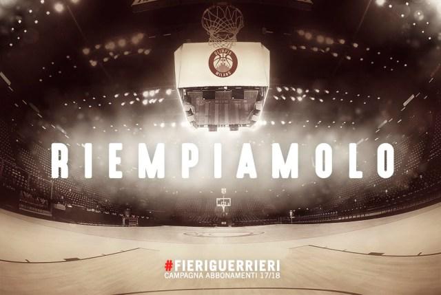 """82dc26dc94c Parte la campagna abbonamenti 2017-2018 dell'Olimpia Milano, lo slogan è  """"Riempiamolo"""""""