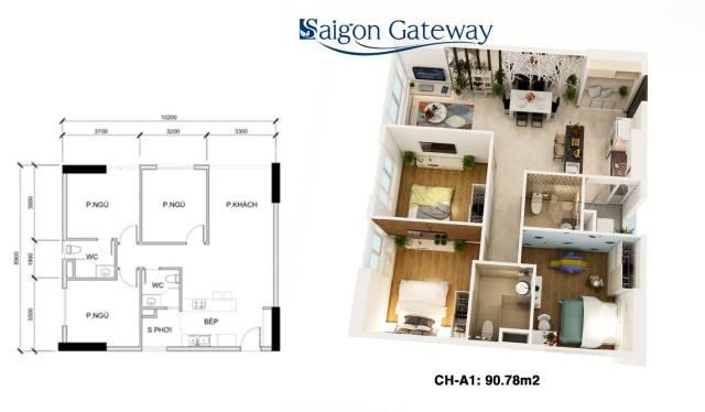 căn hộ saigon gateway 90.76 m2