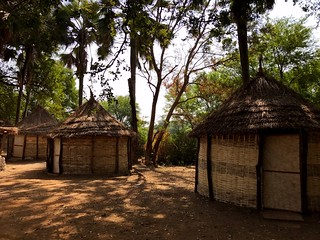 straw huts in niokolo koba national park