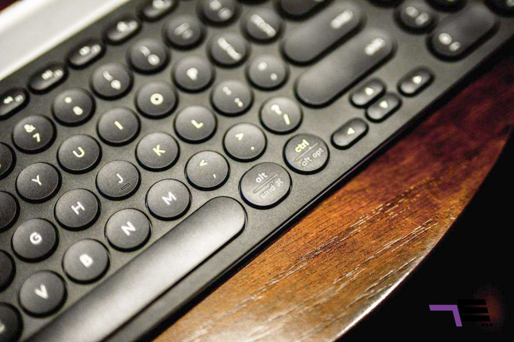 The Logitech K780 features a none standard, QWERTY layout.