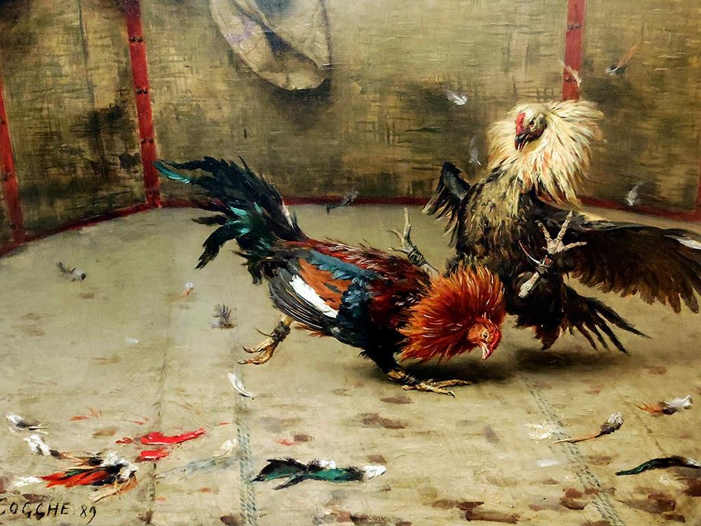 Rmy Cogghe Combat de coqs en Flandre dtail  1889 Huil  Flickr