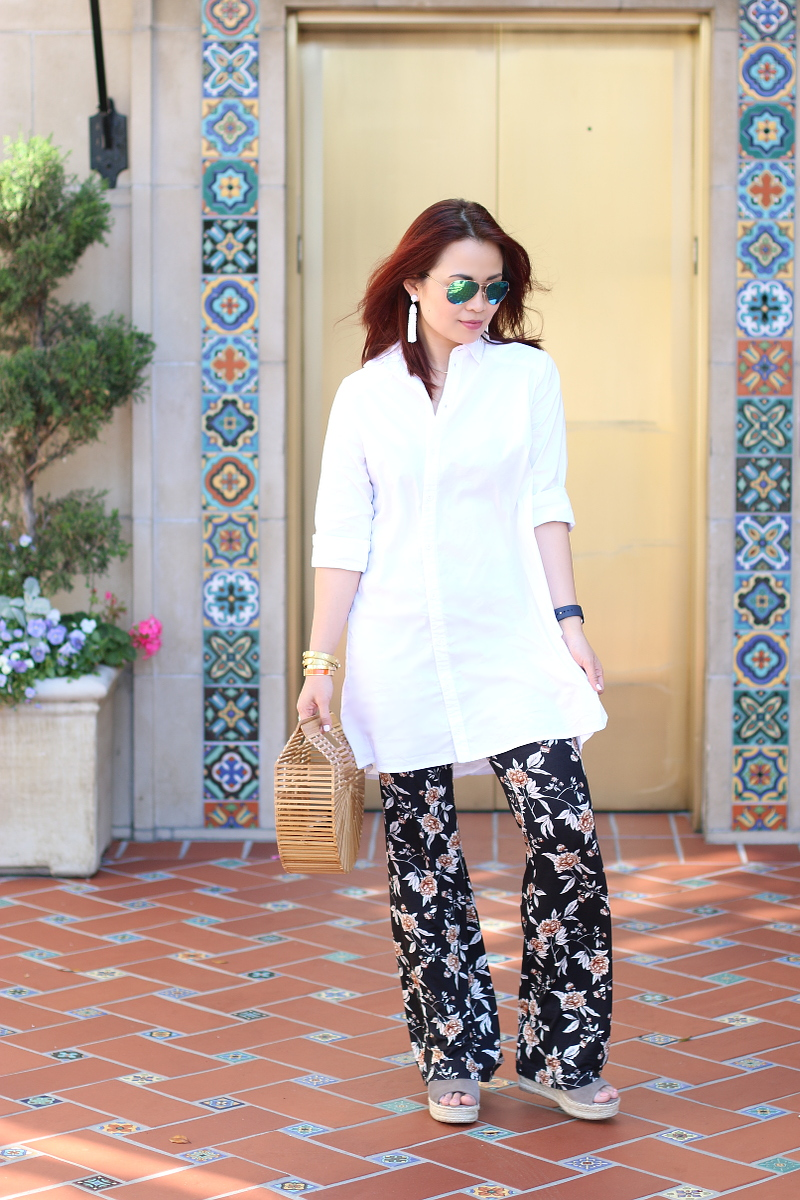 cult-gaia-ark-bag-white-shirt-floral-pants-steve-madden-sandals-4